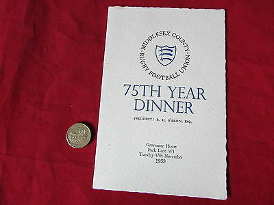 MIDDLESEX  County Rugby Union 75th Year  Dinner Menu Grosvenor House  17/11/53
