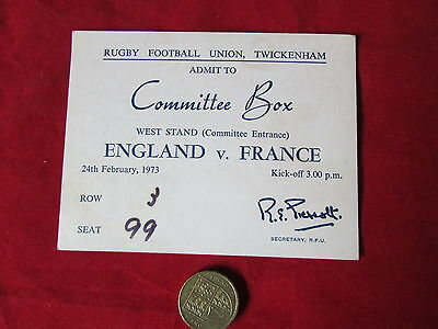 ENGLAND v FRANCE Rugby Union Twickenham Original TICKET Committee Box   24/02/73