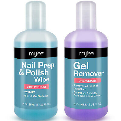 Mylee Nail Gel Polish Prep + And Wipe & Remover UV LED Manicure Acetone 250ml