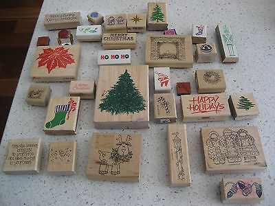 Huge 32 Christmas Theme Rubber Stamp Lot Mounted Wood Stampede Stampin Up etc.