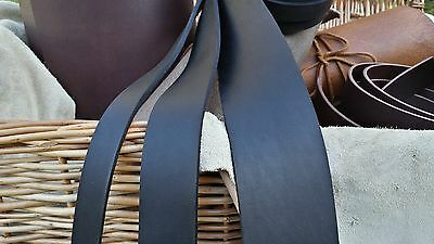"50"" LONG OIL TANNED BLACK 4mm THICK REAL LEATHER STRAP VARIOUS WIDTH Cow Hide"