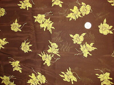 Antique Nylon Fabric CHARTREUSE FLORAL ON DARK BROWN 1 Yd
