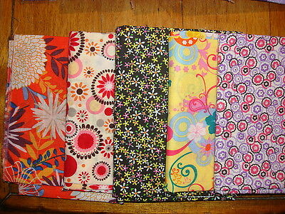 5 Fat Quarters COORDINATING FUN FLORALS Orange,Black,Purple,Blue #8