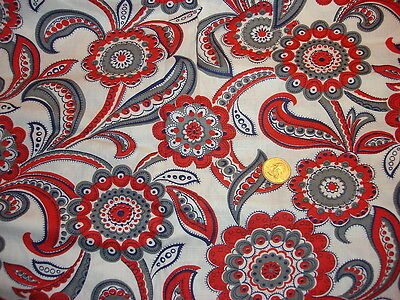 "Antique Cotton Fabric RED,GRAY,BLUE PAISLEY FLORAL ON WHITE 1 Yd/35"" Wide"
