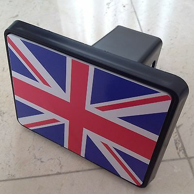 """Trailer Tow Hitch Cover Black for 2"""" Receiver Track Car SUV 5"""" X 4"""" UK Flag"""