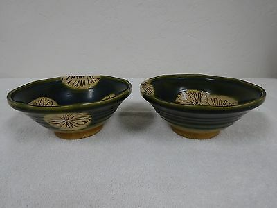 2 signed Asian pottery blue green tan w/flowers bowls