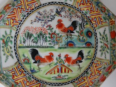 10% OFF!  Antique Chinese MADE IN CHINA 8 sided colorful rooster plate