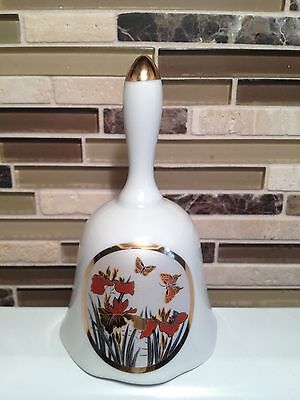 Porcelain Butterfly Bell With Flowers~Made In Japan