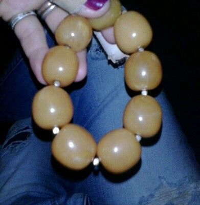 Egg yolk amber butterscotch natural antique bracllete beads very good color