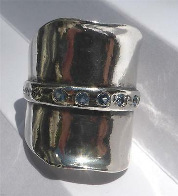RING: Ladies Large 925 Sterling Silver - BLUE TOPAZ  CZ (Made by Shablool) #8