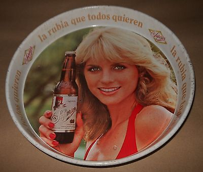 """BEAUTIFUL OLD MEXICAN TIN TRAY SUPERIOR BEER - LA RUBIA QUE -13 1/4"""" DIAMETER"""