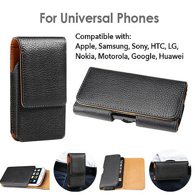 PU Leather Case Cover Pouch Flip Belt Clip for Universal Smart Phones