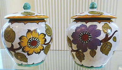 1940s Gouda Ware Pair of Beautiful Lidded Pots - signed