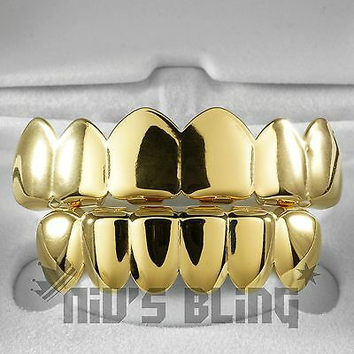 18K Gold IP Plated GRILLZ Top & Bottom Mouth Teeth Hip Hop STAINLESS STEEL Grill