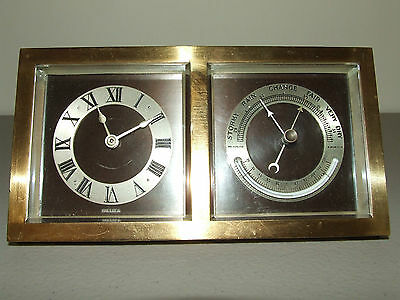 Antique Working 1929 CHELSEA CLOCK CO Art Deco Bronze Clock & Barometer Desk Set