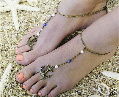 Bronze Anchor Bridal Beach Barefoot Sandal Anklet Jewelry Gift Fashion *