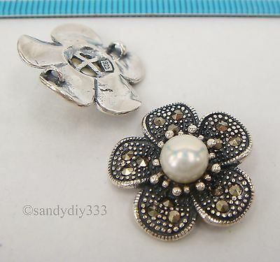 1x STERLING SILVER MARCASITE FRESHWATER PEARL FLOWER CHANDELIER CONNECTOR #2309