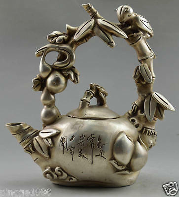 Asia Collectible Decorated Tibet Silver Carved Bird On Grape Tree Big Tea Pot