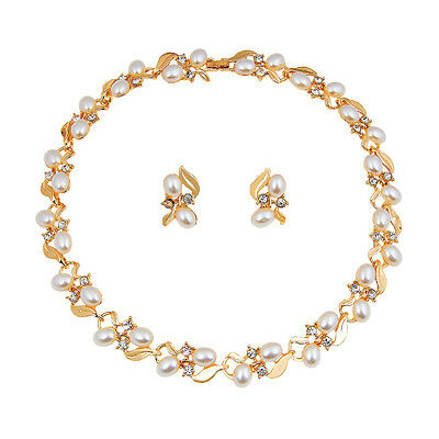 Fshion Women Crystal Pearl Necklace Earring Gold Plated Jewelry Sets