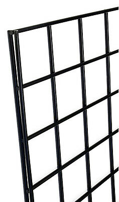 "Heavy Duty Wire Mesh Grid Gridwall Display Panel 1'Wx5'H Black 3""OC Lot of 4 NEW"
