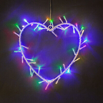 Modern Multi Coloured Battery Operated LED Heart Shaped Hanging Wall Light Lamp