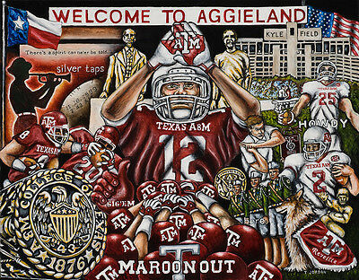 """""""Welcome To Aggieland"""" College Tribute Print  from Thomas Jordan Gallery"""