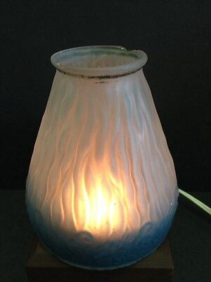 Beautiful Antique Molded Glass Victorian Lamp Shade Pendant Light Frosted Blue