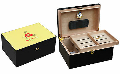 Beautiful Large Piano Finished Montecristo  100 Cigar Humidor  W/cedar Tray