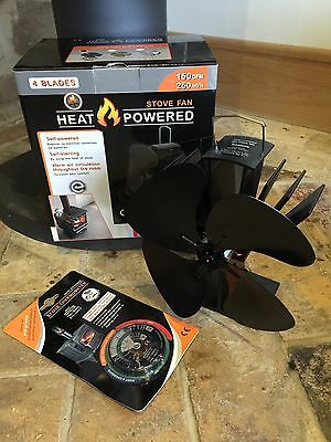 4 blade eco friendly heat powered stove top fan with free magnetic thermometer
