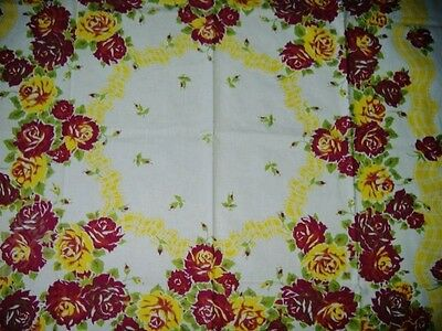 VIVID VINTAGE WINE/YELLOW ROSES RIBBONS TABLECLOTH GORGEOUS+++