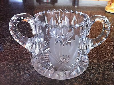 Exquisite Heavy H C FRY  FLORAL  CUT CRYSTAL OPEN SUGAR BOWL