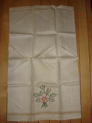 "Antique Cotton Embroidered TOWEL Pink Embroidered Flower 26""x15 1/2"""