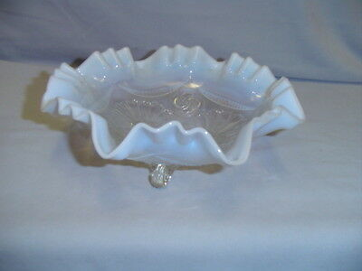 Victorian Colored Pattern Glass Opalescent  Ruffles & Rings Footed Bowl Vintage