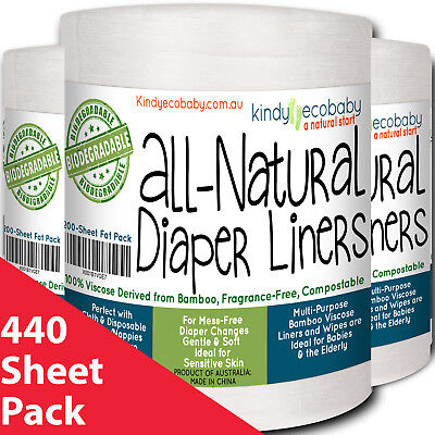 440 x Bamboo Flushable Liners Disposable for Diaper/Nappy, baby wipes, two rolls