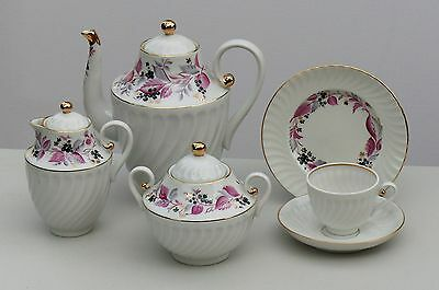 Coffee set 6/21 pcs WILD BERRY, 22K-gold, Lomonosov / Imperial Porcelain, Russia