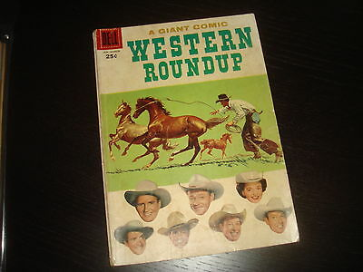 WESTERN ROUNDUP  #17  Giant Western, Cowboy Silver Age Dell Comics VG 1957