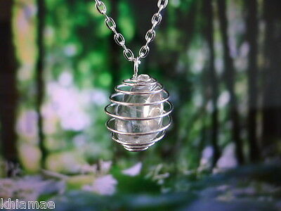 "Empty Silver Spiral Necklace for gemstone 18"" chain pendant crystal wicca pagan"