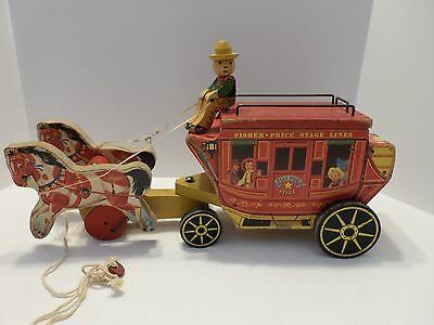 Vintage FISHER PRICE # 175 Gold Star STAGE COACH PULL TOY