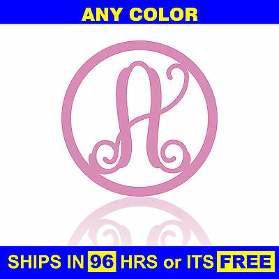 "12"" Painted Circle Monogram Wooden Letter Baby Nursery Wedding Initial Wall Door"