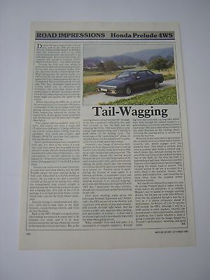 Honda Prelude 4WS Road Impressions article from 1987 - Original