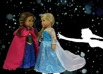 "Disney Frozen Elsa, Anna Costume Sets Doll Clothes Fits 18"" American Girl BH6"
