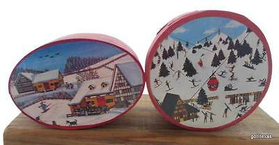 "Vintage Set of 2 Bentwood Christmas Boxes 2 Different Designs 3 x 2""  B"