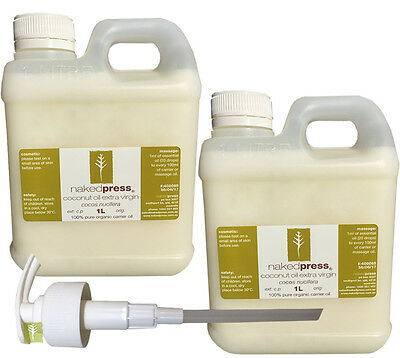 COCONUT OIL (FIJI) - COLD PRESSED (VIRGIN) - 100% ORGANIC - 1L x 2 + PUMP