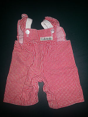 VINTAGE CABBAGE PATCH DOLL RED / WHITE OVERALLS OUTFIT