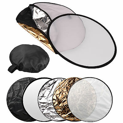 """32"""" 80cm 5 in 1 Photo Round Studio Collapsible Reflector Light Diffuser Kit Set"""