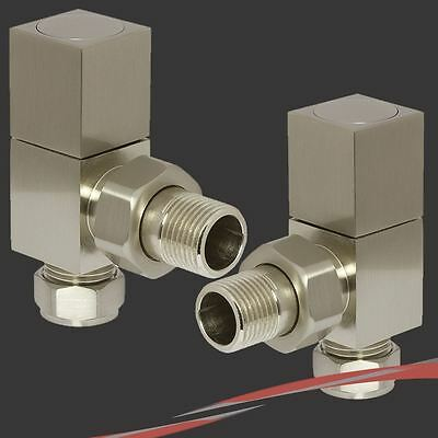 Angled Cubic Brushed Nickel Valves for Radiators & Towel Rails (Pair)