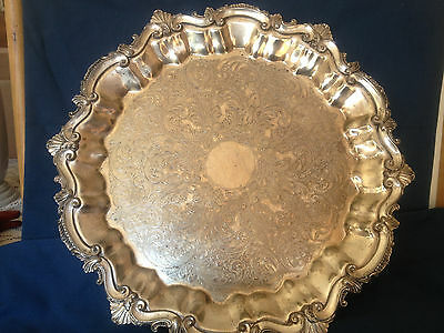 Silver Plate Platter Footed Vtg Engraved Eng makers mark Crown S CB CFT P
