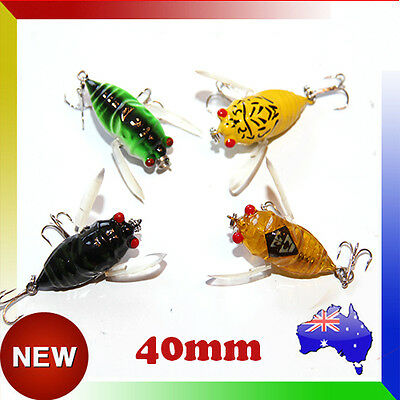 4x Winged Cicada Topwater Fishing Lure Surface Crawler Popper Pencil Bait Lures