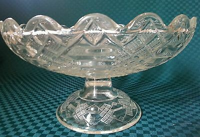 EAPG Jacob's Ladder Footed Pedestal Compote Fruit Bowl Centerpiece 8 1/2 x 4 1/2