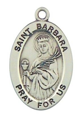 "Patron Saint St Barbara 7/8"" Oval Sterling Silver Medal on Rhodium Plated Chain"
